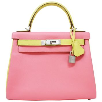 Hermes Sellier Kelly Bag 28cm Bi-Color Rose Confetti and Jaune Poussin Epson