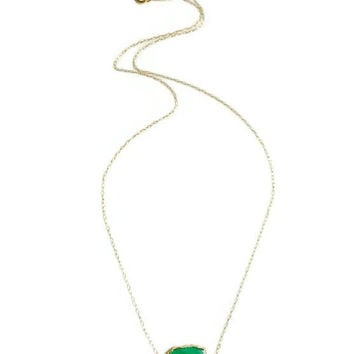 14kt Gold fill Emerald Green Stone Sideways Pendant Necklace. Dainty Gemstone Necklace. Modern Minimalist Jewelry. Gift for Her
