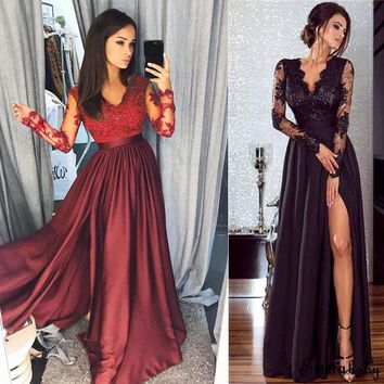 Fashion Casual Women Ladies Formal Long Lace Dress Prom Evening Party Dress Black Red