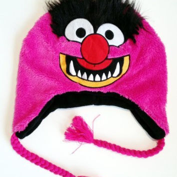 Muppets Cartoon Tv Shows Movie - Animal Pink Felt Applique Laplander Winter Cap Hat