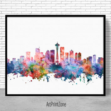 Seattle Skyline, Seattle Print, Seattle Washington, Office Decor, City Skyline Prints, City Wall Art, Cityscape Art, ArtPrintZone
