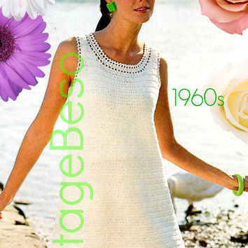 Mod DRESS Crochet Pattern 60s Ladies Crochet Pattern Summerwear Crochet Pattern Vintage Beso Instant PDF Party Dress Women Wedding Dress