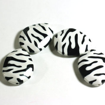4 Large Faceted Zebra Print Teardrop Flat Beads - Plastic Chunky Beads - Jewelry Supplies