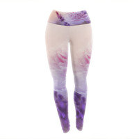 "Monika Strigel ""Peony and Lavender"" Pink Purple Yoga Leggings"