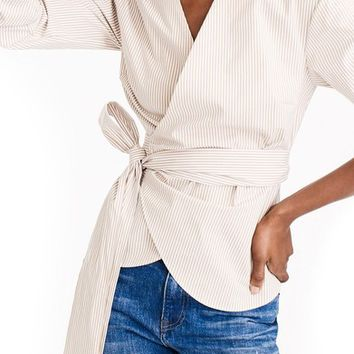 J.Crew Stretch Cotton Stripe Wrap Top | Nordstrom