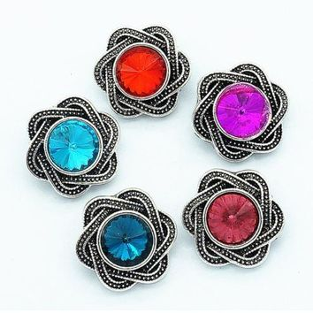 Rhinestone Flower Snap 20mm for Snap Charms
