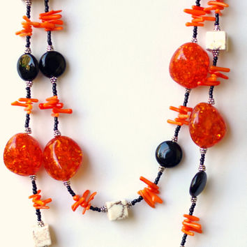 Long Chunky Two Srand Orange Black White Statement Necklace/ Natural Semiprecious Onyx Amber Coral/ OOAK. Unique