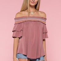 Embroidered Off Shoulder Top - Mauve