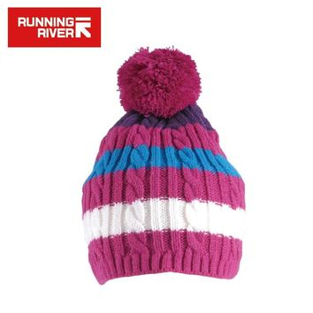 RUNNING RIVER Brand Skiing Cap For Women Two Color Striped Hat New In Fall Thermal Cap Free Size Running Sport Female Cap #Y4750