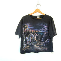 black cut off TShirt. Grunge Shirt. Graphic Lightning and Horses print Tee ShirtCut off cropped 1990s black light shirt COED size Large