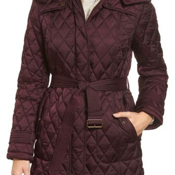 London Fog Quilted Coat with Faux Shearling Lining | Nordstrom