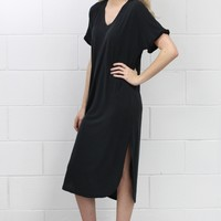 Short Sleeve Modal Side Slits Midi Dress {Black}