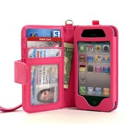 Navor Folio Wallet Case for iPhone 4 4S Pockets for Cards & Money, Clear Window Slot for License ID ( Hot Pink )