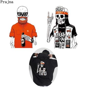 Prajna Zombie Heat Patch Biker Drunkard Skull Iron-on Transfers Egyptian Punk Clothing Stickers On Garment Accessories Rock Man