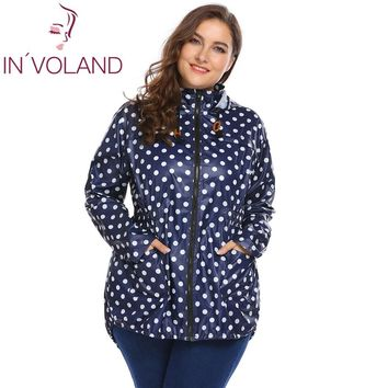 Trendy IN'VOLAND Full Size Women Hooded Jacket XL-5XL Spring Autumn Long Sleeve Dot Drawstring Raincoat With Pockets Coat Large Size AT_94_13