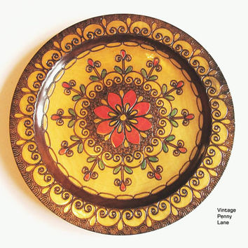 Vintage Polish Carved Wooden Plate / Wall Art