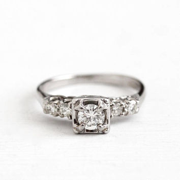 Vintage 14k White Gold .57 CTW Diamond Ring - 1950s Size 7 1940s Fine Engagement Bridal Shoulder Accents Wedding Jewelry w/ Appraisal