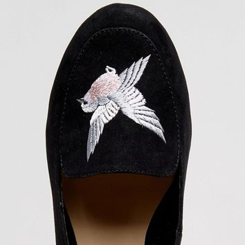 New Look Bird Embroidered Suedette Shoe at asos.com