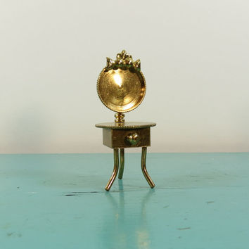 Brass Miniature Vanity Dressing Table Holland Vintage Dollhouse