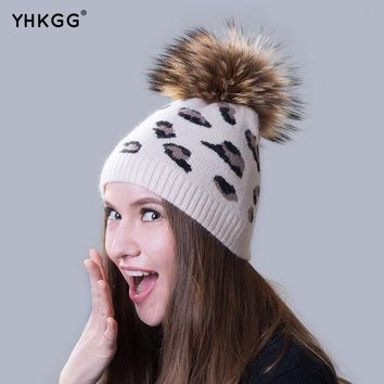 DCCKJG2 Ms. cashmere hats 2016  beanies gorros  latest casual with leopard fur ball  for shopping
