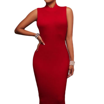 Red Cut Out Straps Back Midi Dress LAVELIQ