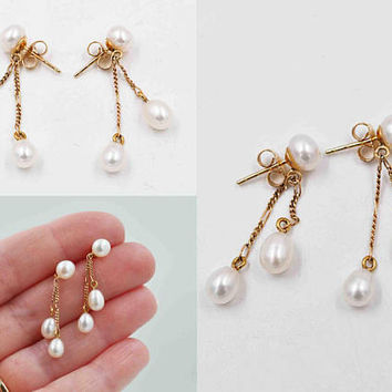 Vintage 14K Yellow Gold & White Freshwater Pearl Pierced Earrings, Fancy Chains, Double Dangle, Teardrop, Wedding, Bridal #c293