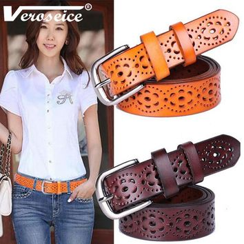 [veroseice] Hot Sale Genuine Leather Women Belt Cowhide Punched Strap All Match Jeans Female Waist Belts For Women High Quality