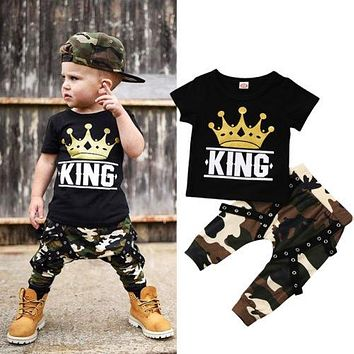 Toddler Kids Baby Boys Clothes Set T Shirt Top Camo Camouflage Pants 2Pcs Outfits Set Children Boy Clothes 0-5T