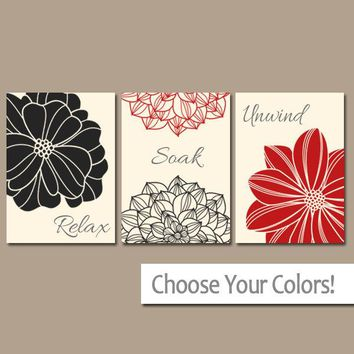 Red Black BATHROOM Wall Art, CANVAS or Prints, Bathroom Decor, Flower Bathroom Pictures, Relax Soak Unwind, Bathroom Quotes, Set of 3