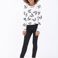 FOREVER 21 GIRLS Boston Terrier Sweatshirt (Kids) Cream/Black
