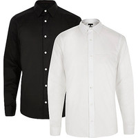 White and black slim fit shirt multipack - long sleeve shirts - shirts - men