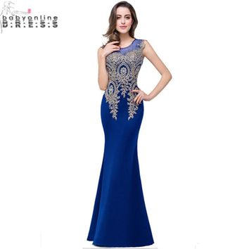 Robe de Soiree 11 Colors Royal Blue Lace Evening Dresses Long  Sexy Sheer Back Satin Mermaid Evening Dress Vestido Longo