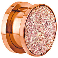 BDJ0044 Sandpaper Texture Top Screw Fit Rose Gold Surgical Steel Ear Plugs