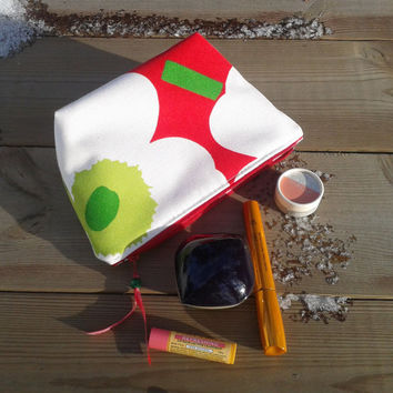Marimekko Make up bag, Make up case, Zipper pouch, Fabric pouch,  Box purse, Cosmetic bag, Travel pouch, Make up purse, Unikko