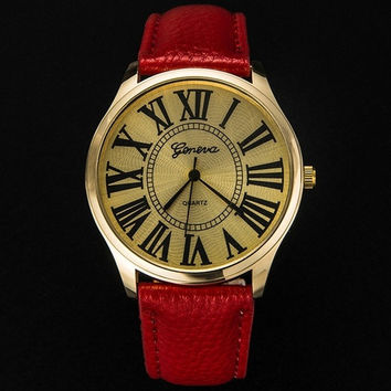 2015 Newest Suitable Stripes Watch Leather Woman Man Quartz Wrist Watches Geneva Girls Dress Watch = 1956707972