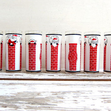 vintage Santa Claus Down the Chimney Highball Tumblers, Set of 6 tall Christmas glasses, 1960s