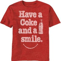 COKE COLA - HAVE A COKE AND A SMILE - FINE WOVEN FITTED MENS TEE