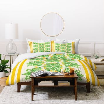 Lara Kulpa Green And Yellow Tribal Floral Duvet Cover