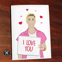 I Love You - Justin Bieber Holding Sign with Floating Hearts - Anniversary Love Greeting Card 4.5 X 6.25 Inches