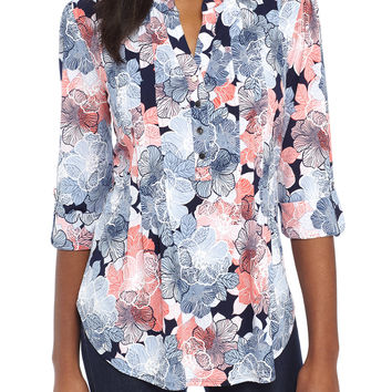 New Directions® Three-Quarter Sleeve Floral Print Top