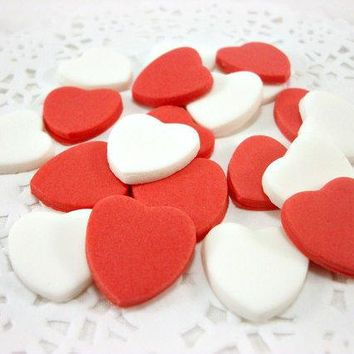 50 Valentine Day Fondant Hearts Cupcake Topper Wedding Cake Topper Edible Heart Topper Red Sugar Heart Valentine Party Gift Candy Favor