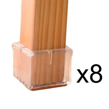 NEW 8pcs /Set Square Chair Leg Caps Rubber Feet Protector Pads Furniture Table Covers