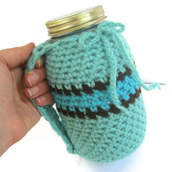 Aqua Blue Crocheted Mug Holder with Handle. Quart Size Mason Kerr Jar, Sky Blue Aqua Blue and Brown, Reduce your Impact
