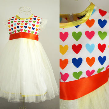 Girls Rainbow Heart Party Dress - Tulle Skirt - Age 2 - 3 years - One of A Kind