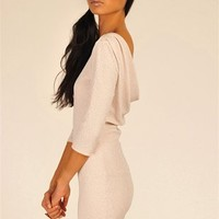 Champagne Long Sleeve Sparkle Dress with Drop Back