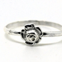Sterling Silver Rose Ring, Handcrafted Flower Ring, Lovers Ring, Romantic Jewelry