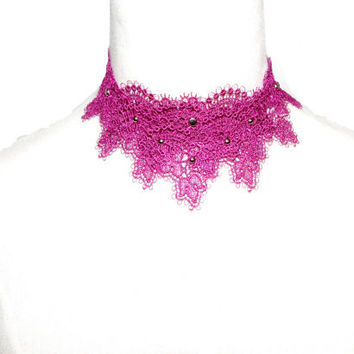 Handmade large floral lace layers choker steampunk necklace - vintage Victorian pink purple silver charms Unique women jewelry gift