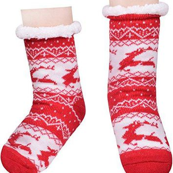 Womens Slipper Socks Christmas Deer Fleece Lining Sock Knee High Stockings