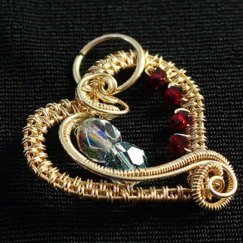 Gold Heart Pendant, Birthstone Jewelry, Mother's Day Gift, Woven Wire Heart, Wire Wrapped, Red White Blue, Valentines, Sweetheart Gift