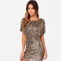 Sexy Sequins Hollow Back Short Bodycon Dress